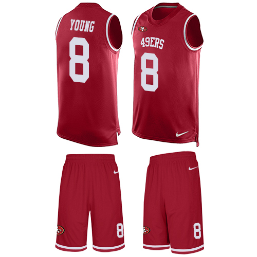 Men's Steve Young Red Limited Football Jersey: San Francisco 49ers #8 Tank Top Suit  Jersey