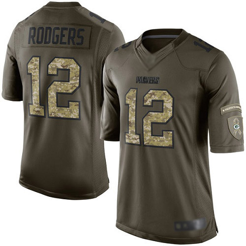 Men's Aaron Rodgers Green Elite Football Jersey: Green Bay Packers #12 Salute to Service  Jersey