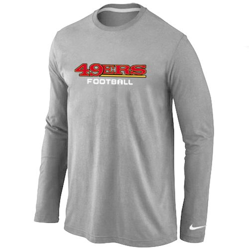 San Francisco 49ers Authentic Font Long Sleeve Football T-Shirt - Grey