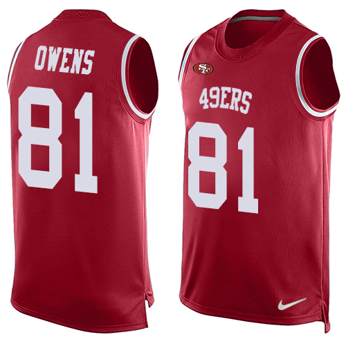 Men's Terrell Owens Red Limited Football Jersey: San Francisco 49ers #81 Player Name & Number Tank Top  Jersey