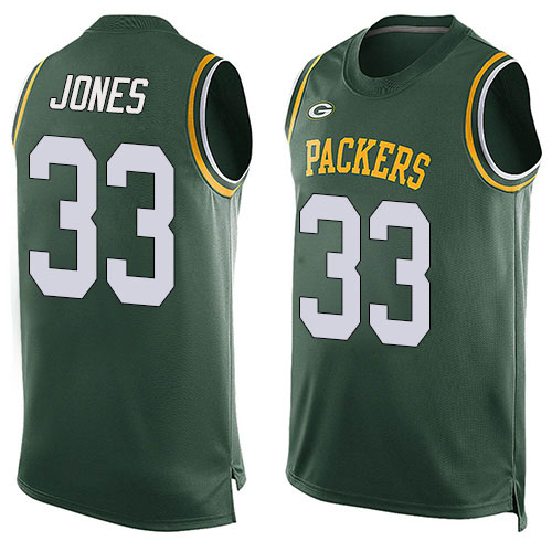 Men's Aaron Jones Green Limited Football Jersey: Green Bay Packers #33 Player Name & Number Tank Top  Jersey