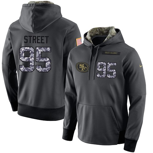 Football Men's  San Francisco 49ers #95 Kentavius Street Stitched Black Anthracite Salute to Service Player Performance Hoodie