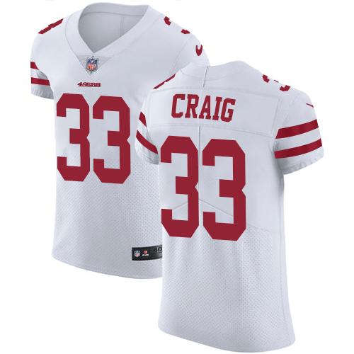 Men's Roger Craig White Road Elite Football Jersey: San Francisco 49ers #33 Vapor Untouchable  Jersey