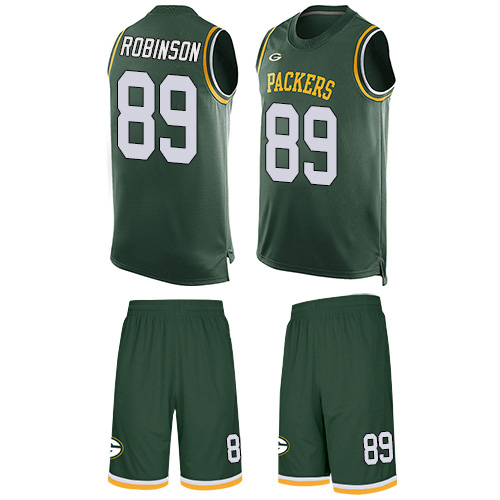 Men's Dave Robinson Green Limited Football Jersey: Green Bay Packers #89 Tank Top Suit  Jersey