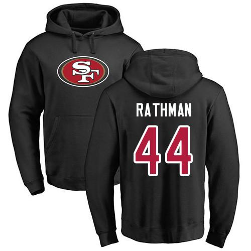 Tom Rathman Black Name & Number Logo Football : San Francisco 49ers #44 Pullover Hoodie