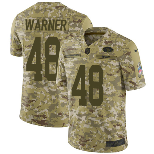 Youth Fred Warner Camo Limited Football Jersey: San Francisco 49ers #48 2018 Salute to Service  Jersey