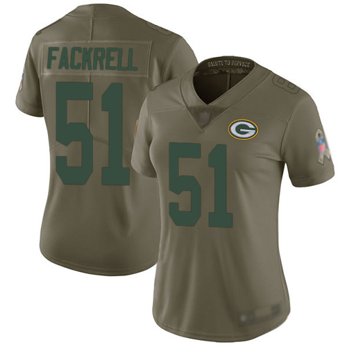 Women's Kyler Fackrell Olive Limited Football Jersey: Green Bay Packers #51 2017 Salute to Service  Jersey