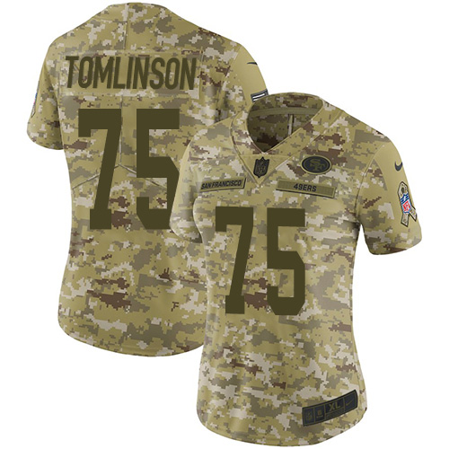 Women's Laken Tomlinson Camo Limited Football Jersey: San Francisco 49ers #75 2018 Salute to Service  Jersey