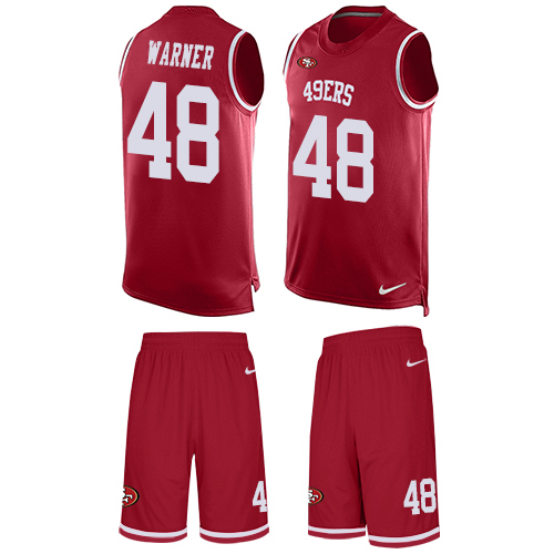 Men's Fred Warner Red Limited Football Jersey: San Francisco 49ers #48 Tank Top Suit  Jersey
