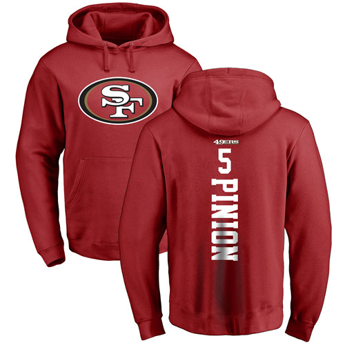 Bradley Pinion Red Backer Football : San Francisco 49ers #5 Pullover Hoodie