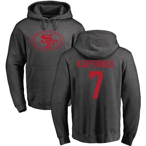 Colin Kaepernick Ash One Color Football : San Francisco 49ers #7 Pullover Hoodie