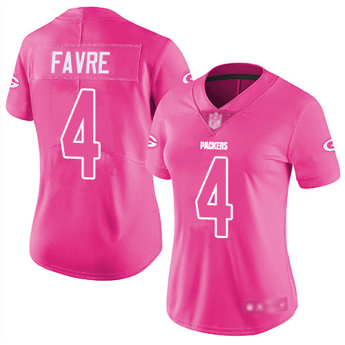Women's Brett Favre Pink Limited Football Jersey: Green Bay Packers #4 Rush Fashion  Jersey