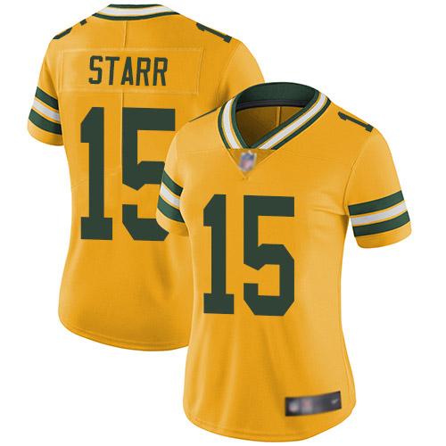Women's Bart Starr Gold Limited Football Jersey: Green Bay Packers #15 Rush Vapor Untouchable  Jersey