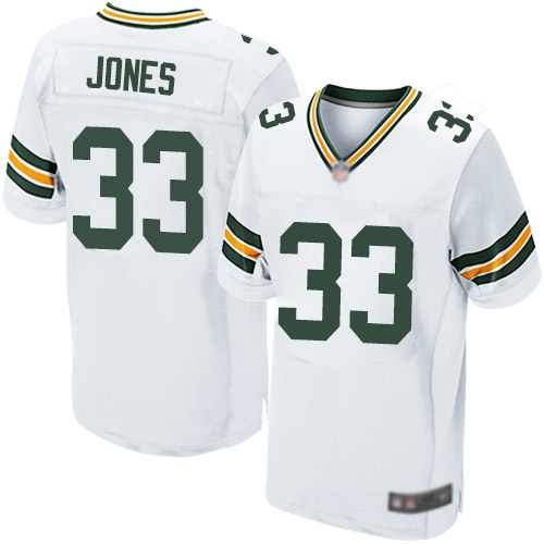 Men's Aaron Jones White Road Elite Football Jersey: Green Bay Packers #33  Jersey