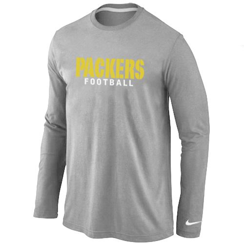 Green Bay Packers Authentic Font Long Sleeve Football T-Shirt - Grey