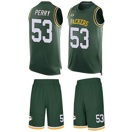Men's Nick Perry Green Limited Football Jersey: Green Bay Packers #53 Tank Top Suit  Jersey