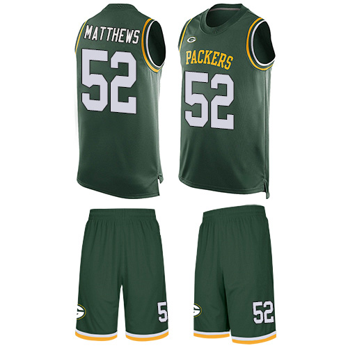 Men's Clay Matthews Green Limited Football Jersey: Green Bay Packers #52 Tank Top Suit  Jersey