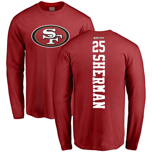 Richard Sherman Red Backer Football : San Francisco 49ers #25 Long Sleeve T-Shirt