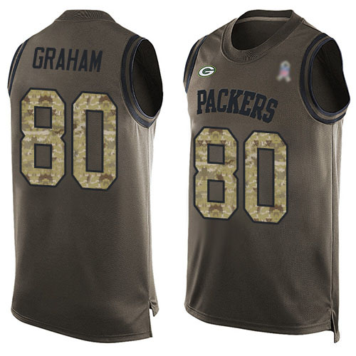 Men's Jimmy Graham Green Limited Football Jersey: Green Bay Packers #80 Salute to Service Tank Top  Jersey