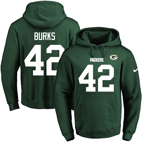 Football Men's  Green Bay Packers #42 Oren Burks Green Name & Number Pullover Hoodie