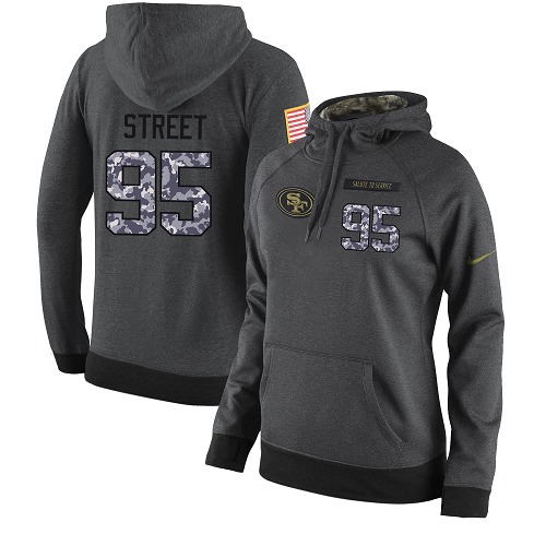 Football Women's  San Francisco 49ers #95 Kentavius Street Stitched Black Anthracite Salute to Service Player Performance Hoodie