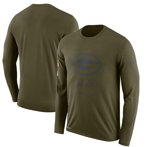 Football Men's  Green Bay Packers Olive Salute to Service Sideline Legend Performance Long Sleeve T-Shirt