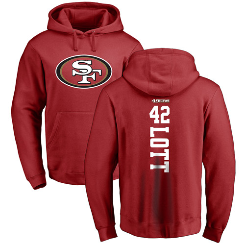 Ronnie Lott Red Backer Football : San Francisco 49ers #42 Pullover Hoodie