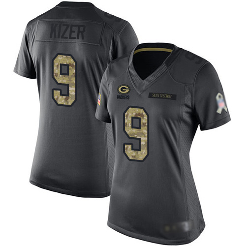 Women's DeShone Kizer Black Limited Football Jersey: Green Bay Packers #9 2016 Salute to Service  Jersey
