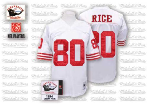 Men's Jerry Rice White Road Authentic Football Jersey: San Francisco 49ers #80 Throwback Mitchell and Ness Jersey