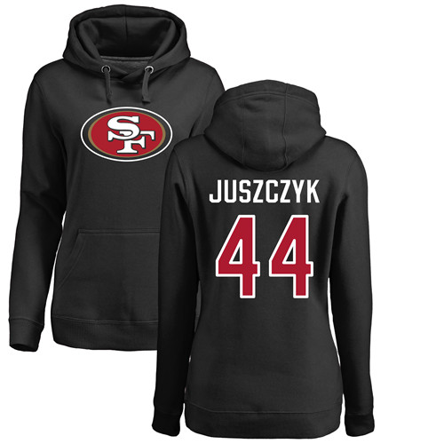 Women's Kyle Juszczyk Black Name & Number Logo Football : San Francisco 49ers #44 Pullover Hoodie
