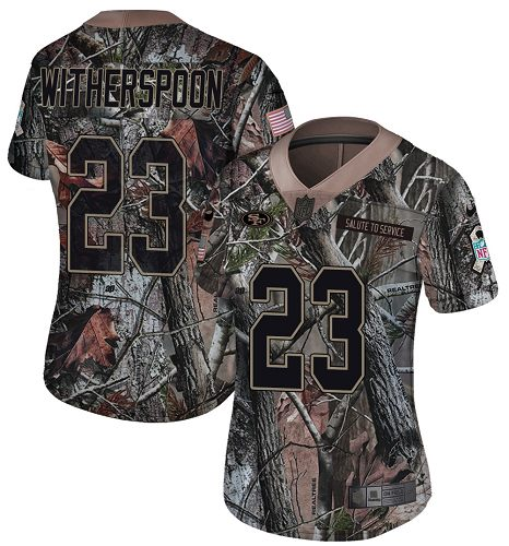 Women's Ahkello Witherspoon Camo Limited Football Jersey: San Francisco 49ers #23 Rush Realtree  Jersey
