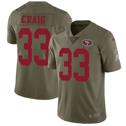 Youth Roger Craig Olive Limited Football Jersey: San Francisco 49ers #33 2017 Salute to Service  Jersey