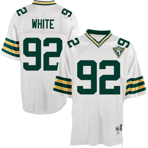 Men's Reggie White White Road Authentic Football Jersey: Green Bay Packers #92 Throwback Mitchell and Ness Jersey