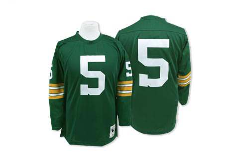 Men's Paul Hornung Green Home Authentic Football Jersey: Green Bay Packers #5 Throwback Mitchell and Ness Jersey