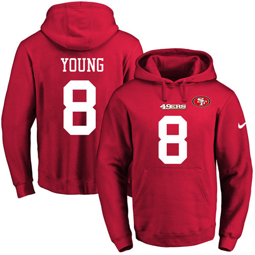 Football Men's  San Francisco 49ers #8 Steve Young Red Name & Number Pullover Hoodie