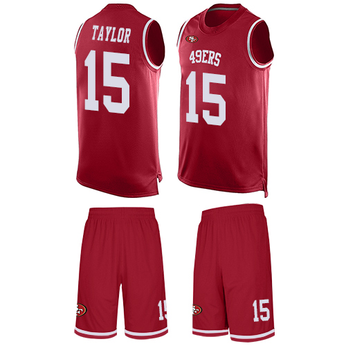 Men's Trent Taylor Red Limited Football Jersey: San Francisco 49ers #15 Tank Top Suit  Jersey
