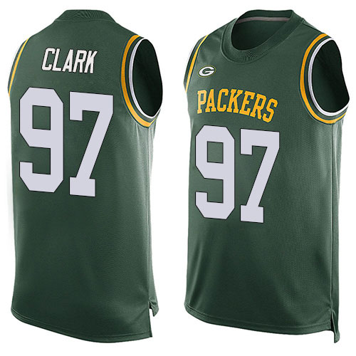 Men's Kenny Clark Green Limited Football Jersey: Green Bay Packers #97 Player Name & Number Tank Top  Jersey