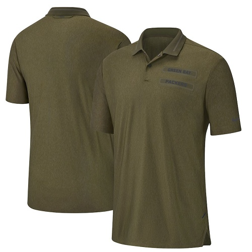 Football Men's Green Bay Packers  Olive Salute to Service Sideline Polo T-Shirt