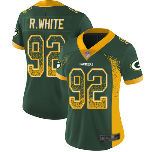 Women's Reggie White Green Limited Football Jersey: Green Bay Packers #92 Rush Drift Fashion  Jersey