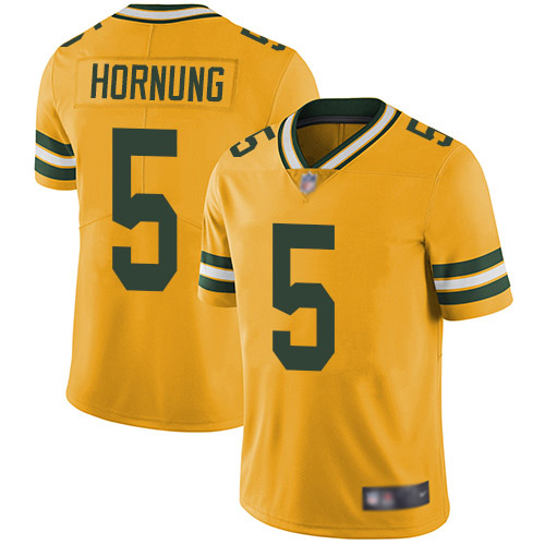 Men's Paul Hornung Gold Elite Football Jersey: Green Bay Packers #5 Rush Vapor Untouchable  Jersey
