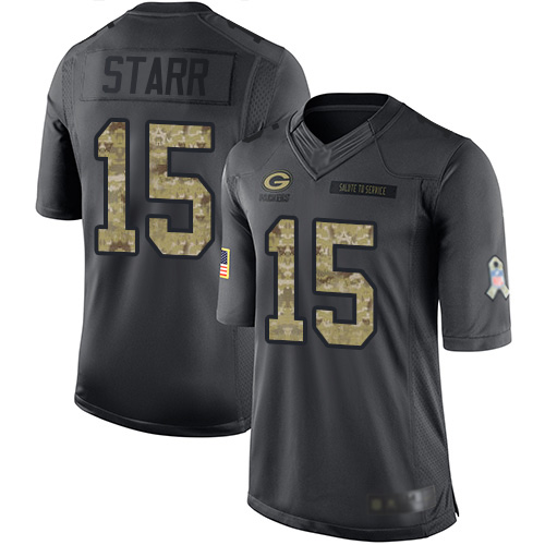 Youth Bart Starr Black Limited Football Jersey: Green Bay Packers #15 2016 Salute to Service  Jersey