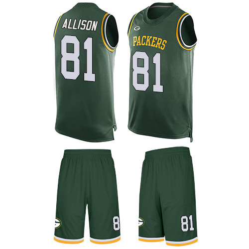 Men's Geronimo Allison Green Limited Football Jersey: Green Bay Packers #81 Tank Top Suit  Jersey