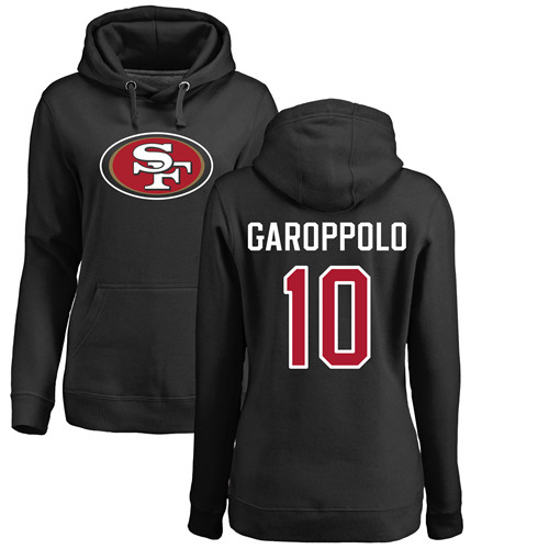 Women's Jimmy Garoppolo Black Name & Number Logo Football : San Francisco 49ers #10 Pullover Hoodie