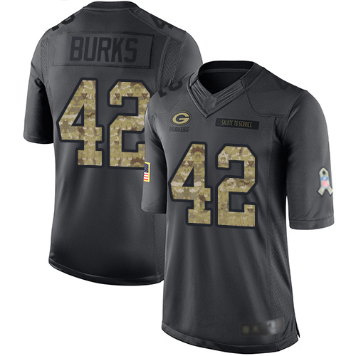 Youth Oren Burks Black Limited Football Jersey: Green Bay Packers #42 2016 Salute to Service  Jersey