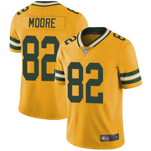 Youth J'Mon Moore Gold Limited Football Jersey: Green Bay Packers #82 Rush Vapor Untouchable  Jersey