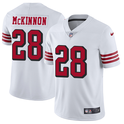 Men's Jerick McKinnon Black Elite Football Jersey: San Francisco 49ers #28 Rush Vapor Untouchable  Jersey