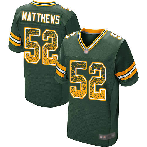 Men's Clay Matthews Green Home Elite Football Jersey: Green Bay Packers #52 Drift Fashion  Jersey