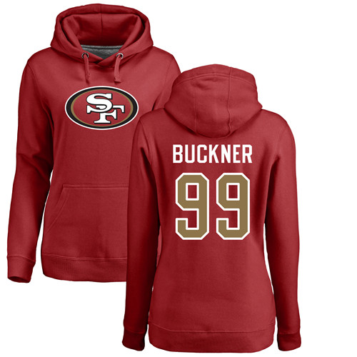 Women's DeForest Buckner Red Name & Number Logo Football : San Francisco 49ers #99 Pullover Hoodie