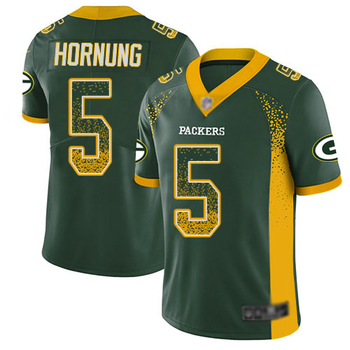 Youth Paul Hornung Green Limited Football Jersey: Green Bay Packers #5 Rush Drift Fashion  Jersey