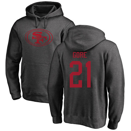 Frank Gore Ash One Color Football : San Francisco 49ers #21 Pullover Hoodie